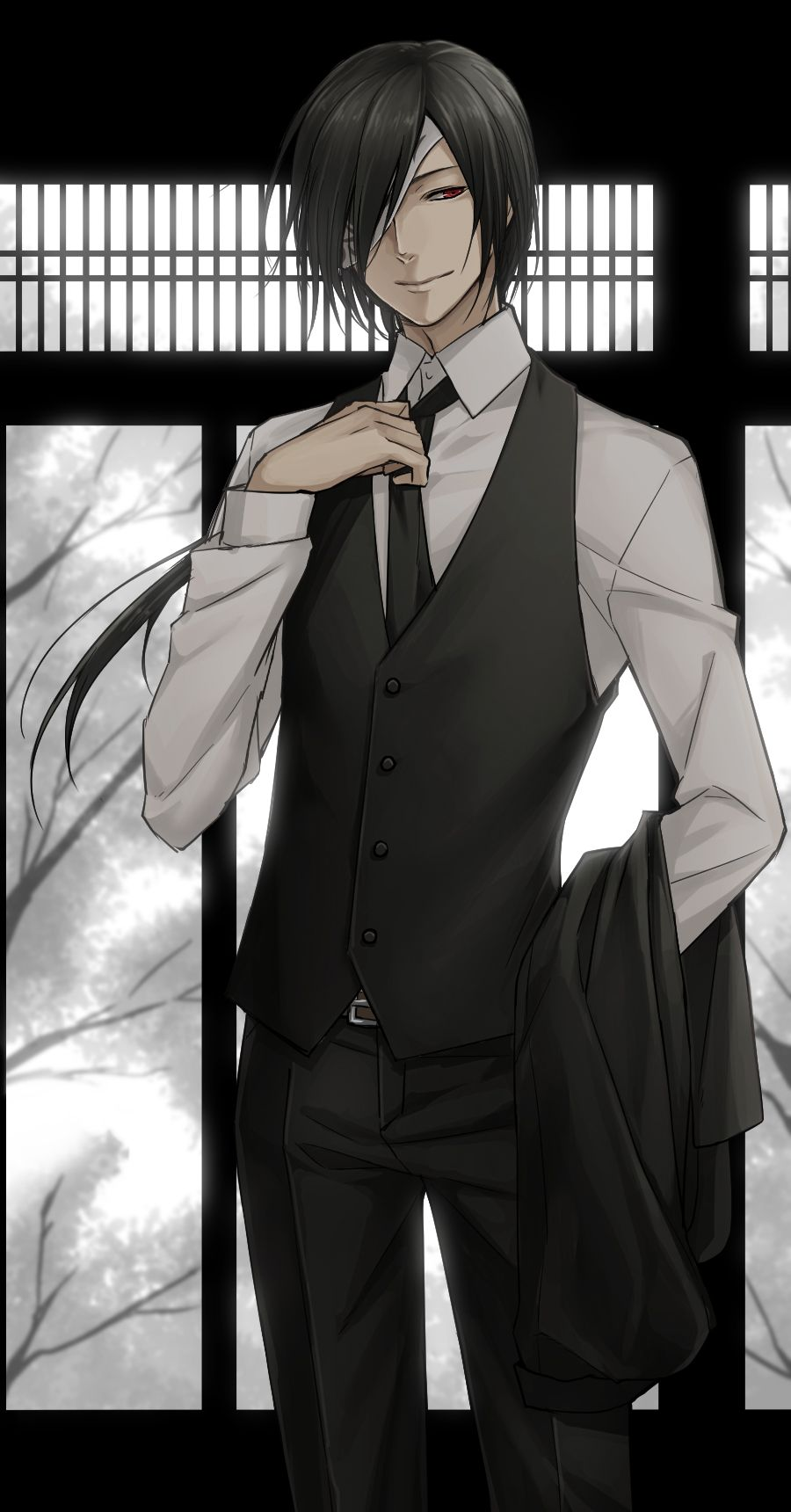 Matoba Seiji From Natsume Yuujinchou Wearing A Black And White Suit White Shirt Vest And A Tie Black Haired Bi Cute Anime Guys Natsume Takashi Long Hair Styles