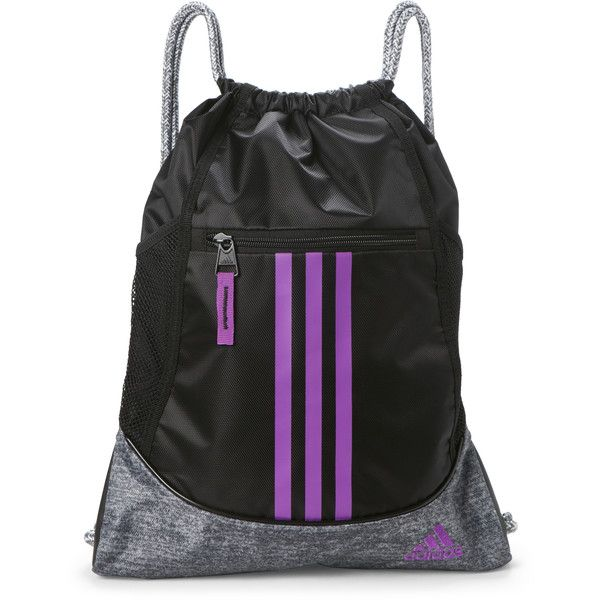3994ddb57f24 Adidas Black   Purple Alliance Sack Pack ( 9.99) ❤ liked on Polyvore  featuring bags