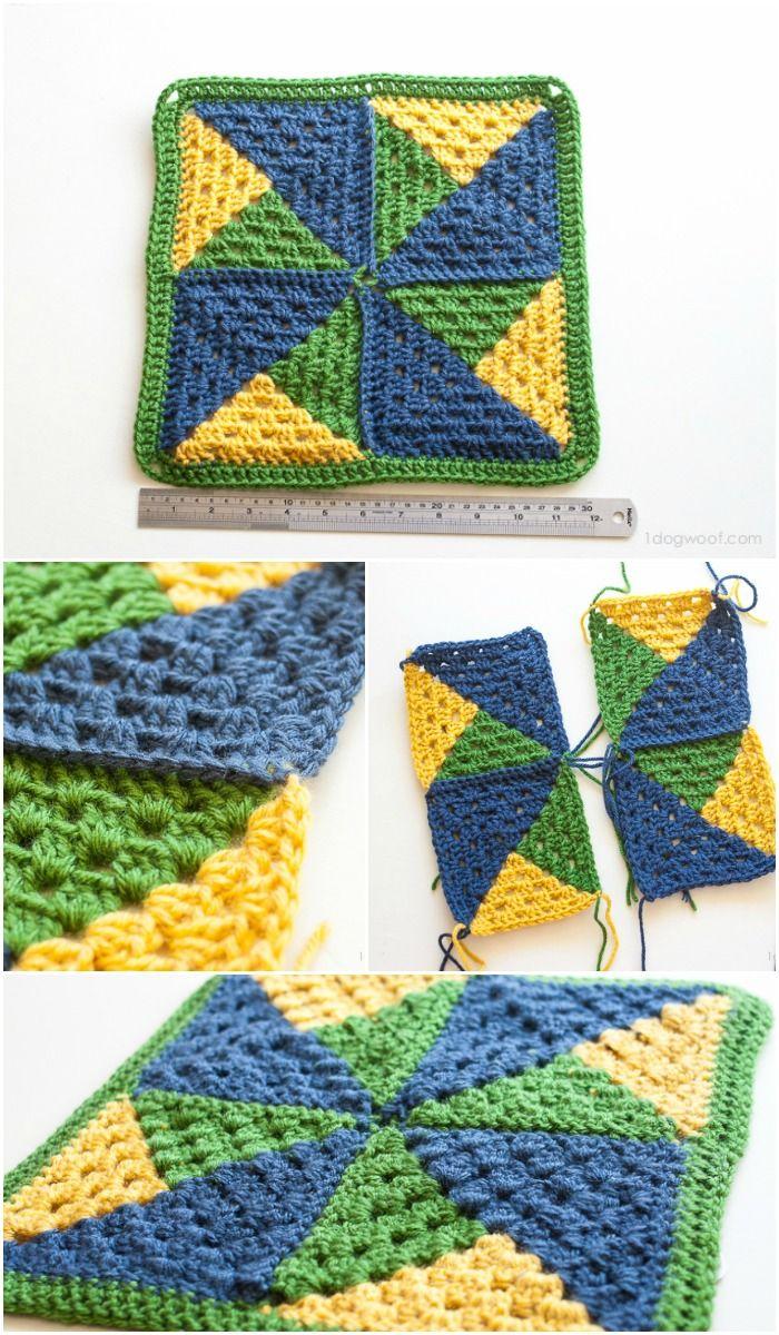 Crochet Pinwheel Afghan Square | Farbig, Decken und Häkeln