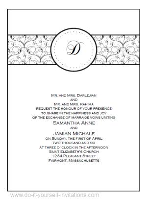 Monogram Wedding Invitation Templates blackgreenlillabrown