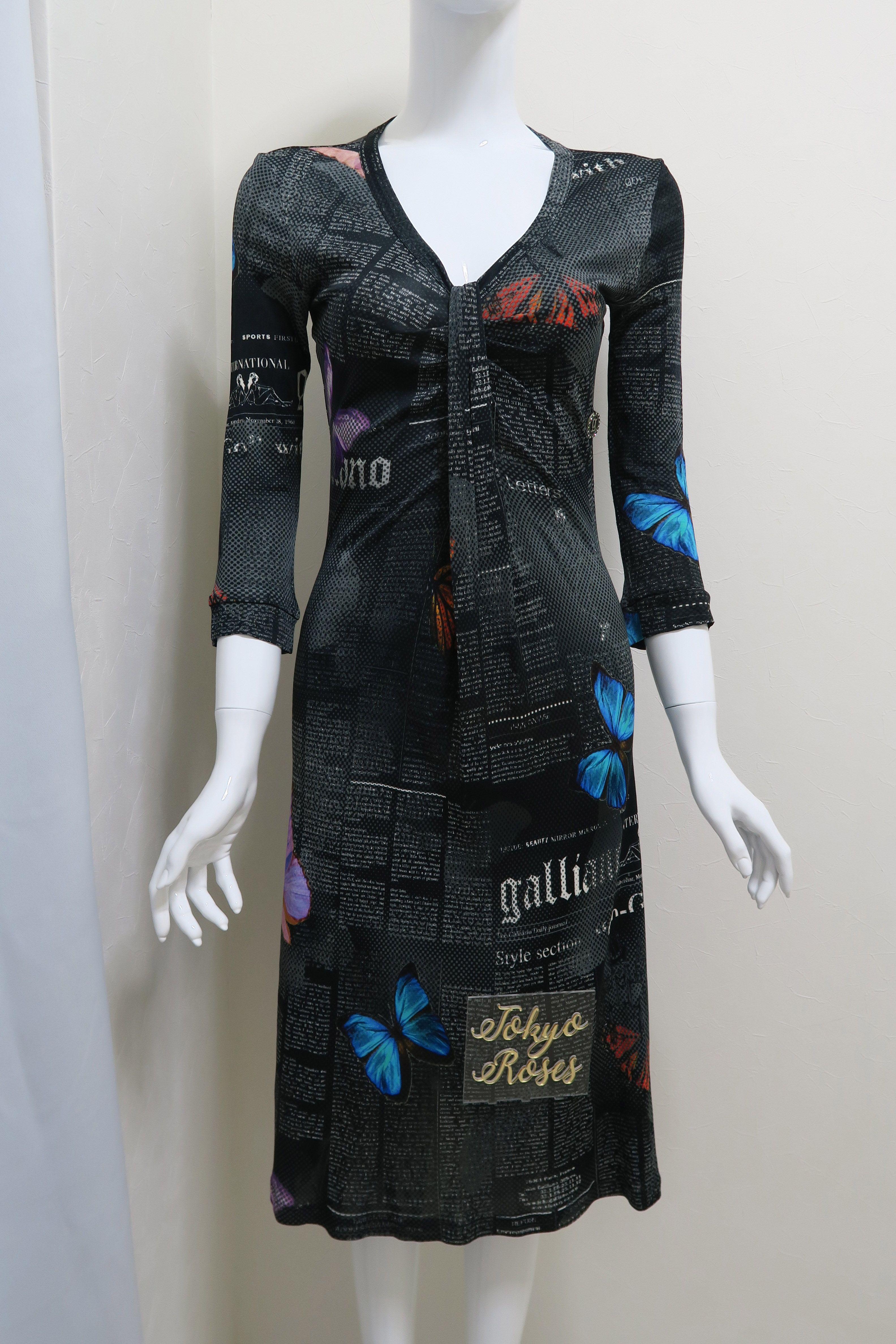 John Galliano Gazette Newspaper Print Long Sleeve Dress Black Butterfly Tokyo Roses Vintage Long Sleeve Print Dress Black Long Sleeve Dress Long Sleeve Dress