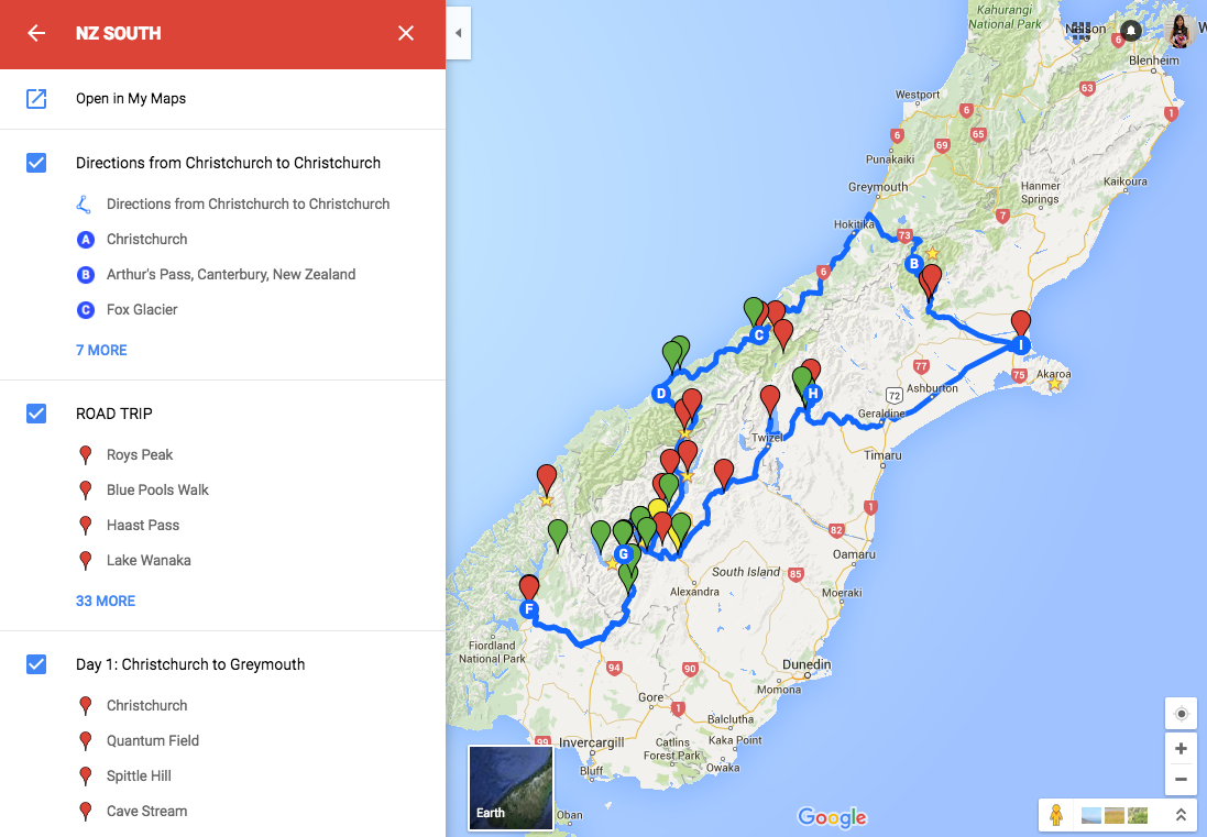 Google Map Of New Zealand.New Zealand South Island Attractions You Must See On Your Road Trip