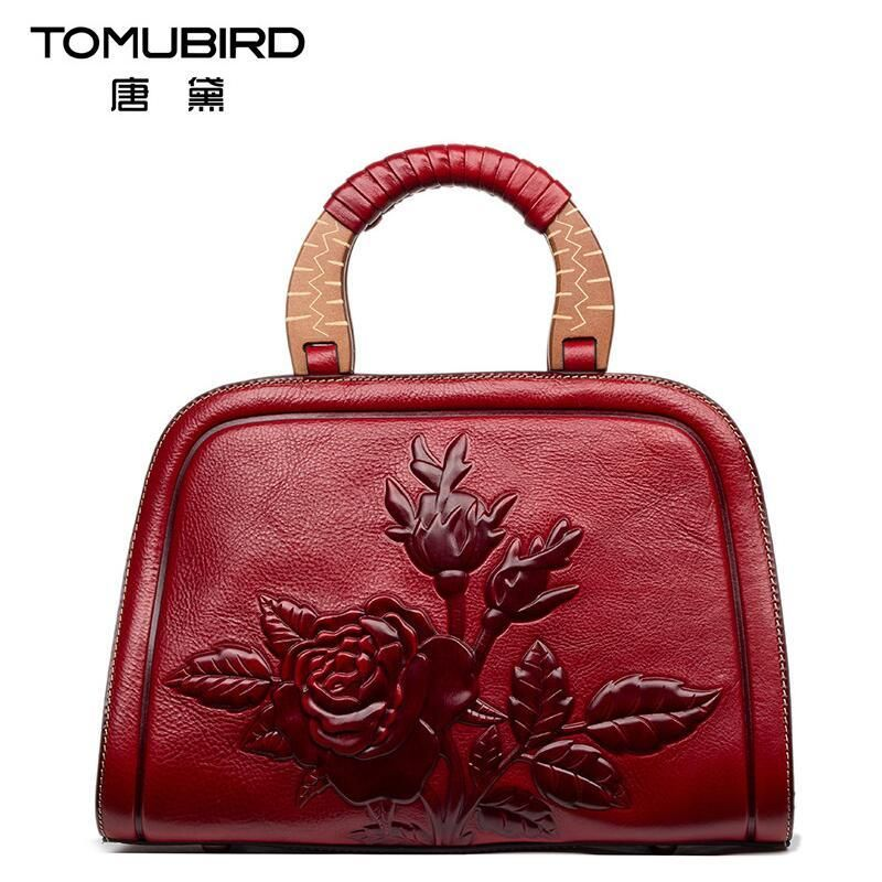 294ba62d5314 On sale US  179.98 2017 New women bag genuine leather brands high quality  cowhide embossing roses fashion women leather handbags shoulder bag  women  ...