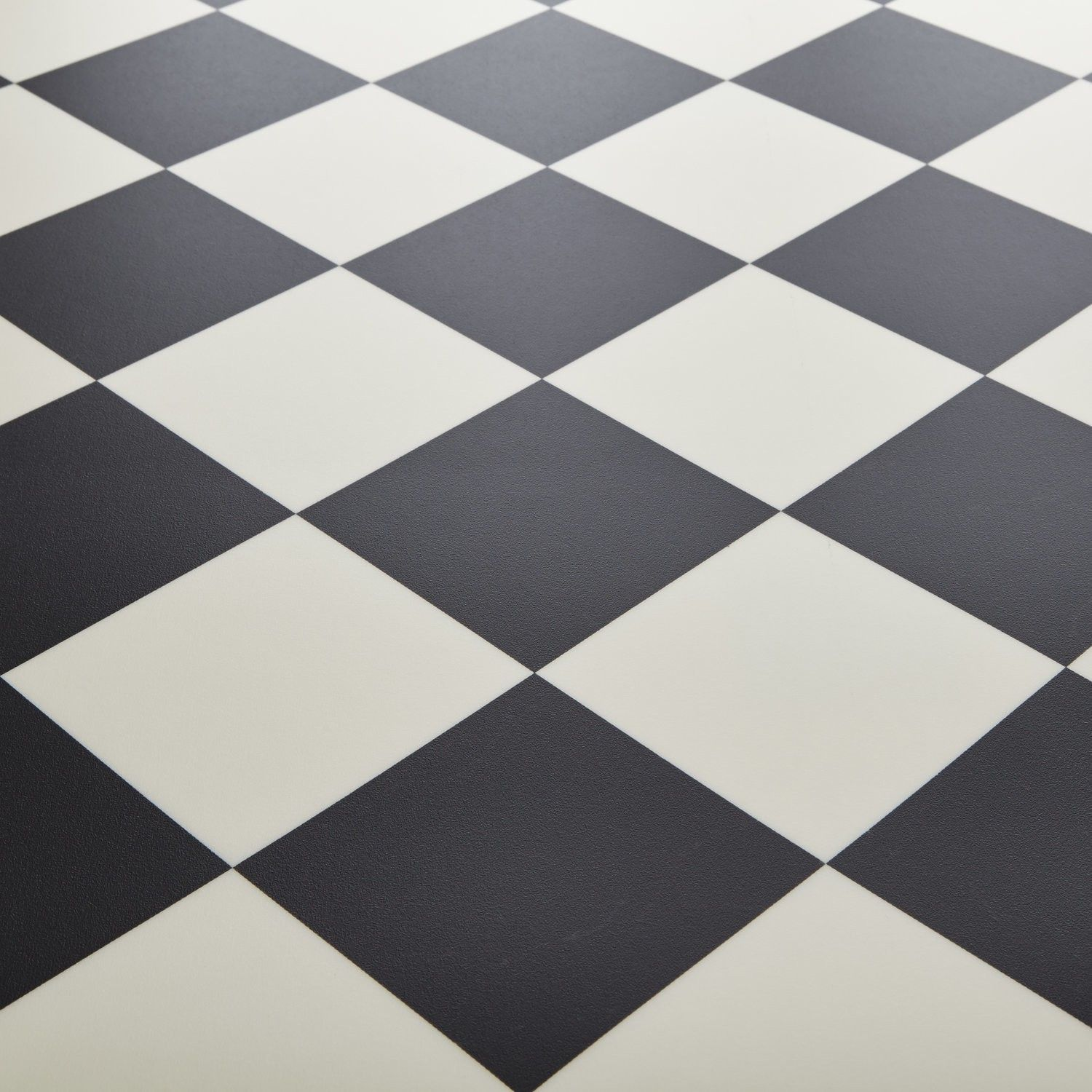 Rhino Champion Pisa Black White Chequered Tile Vinyl