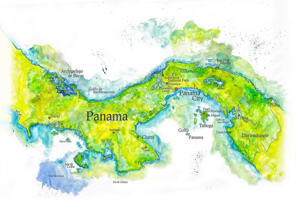 Map Of Panama Map Painting Watercolor Map Map