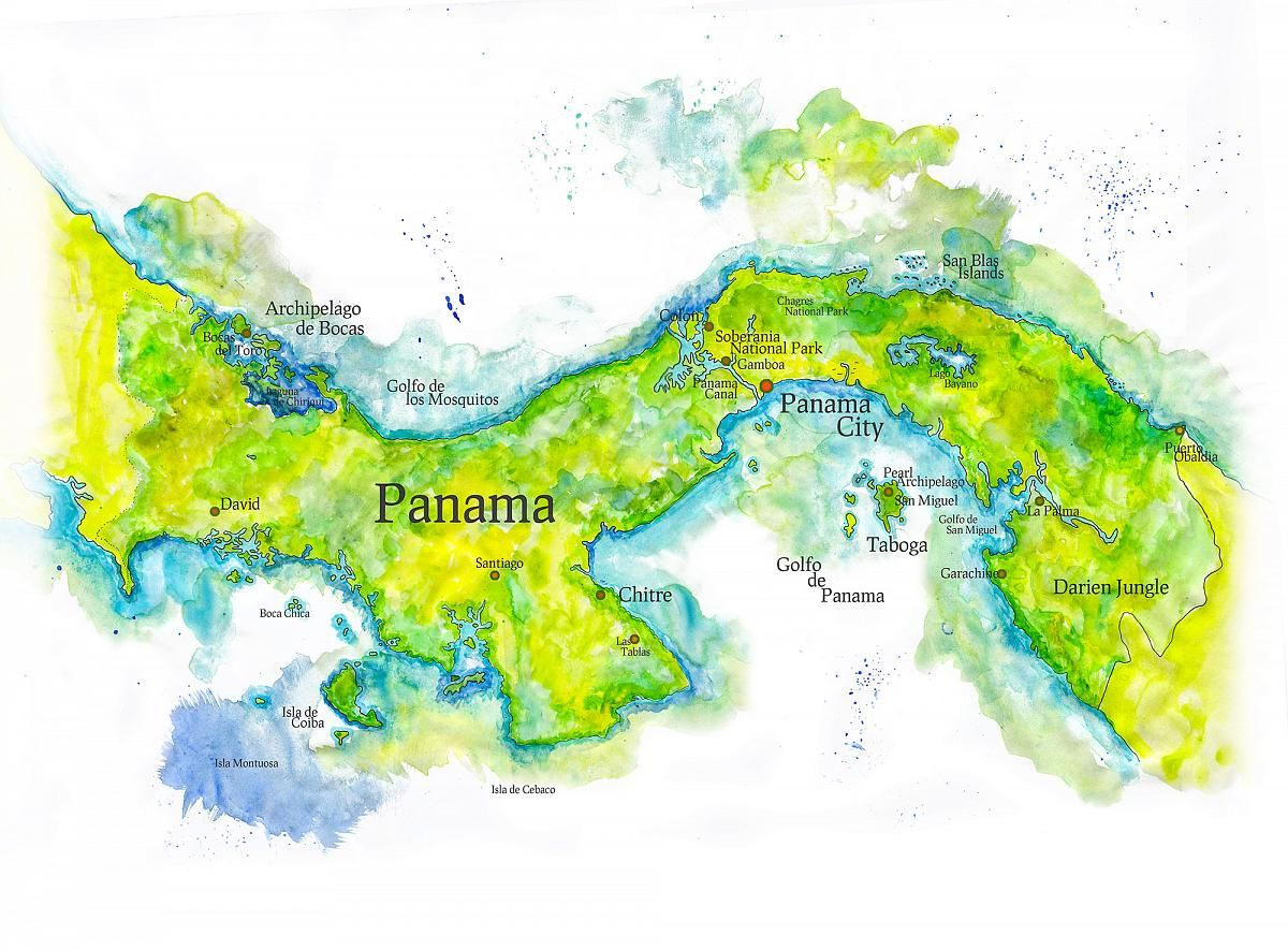 Map Of Panama Map Painting Watercolor Map Map
