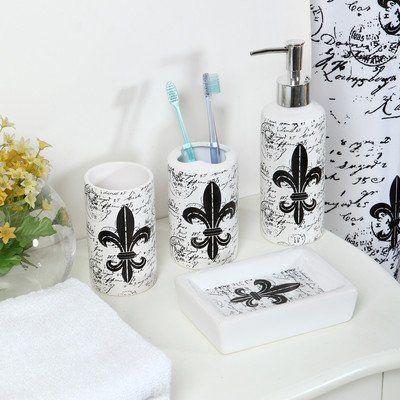 18piece Ceramic Bathroom Accessory Setblackwhite And Chrome