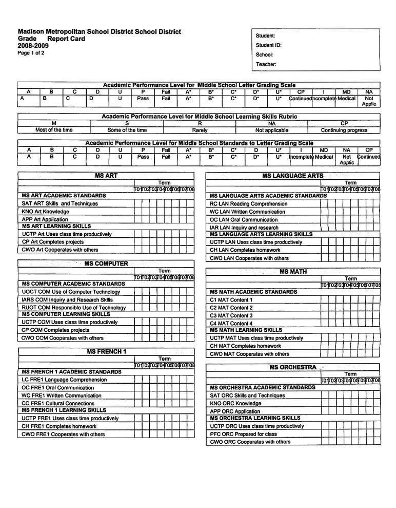 Image Result For Standards Based Report Cards Middle School Standards Based Report Cards School Report Card Report Card Template