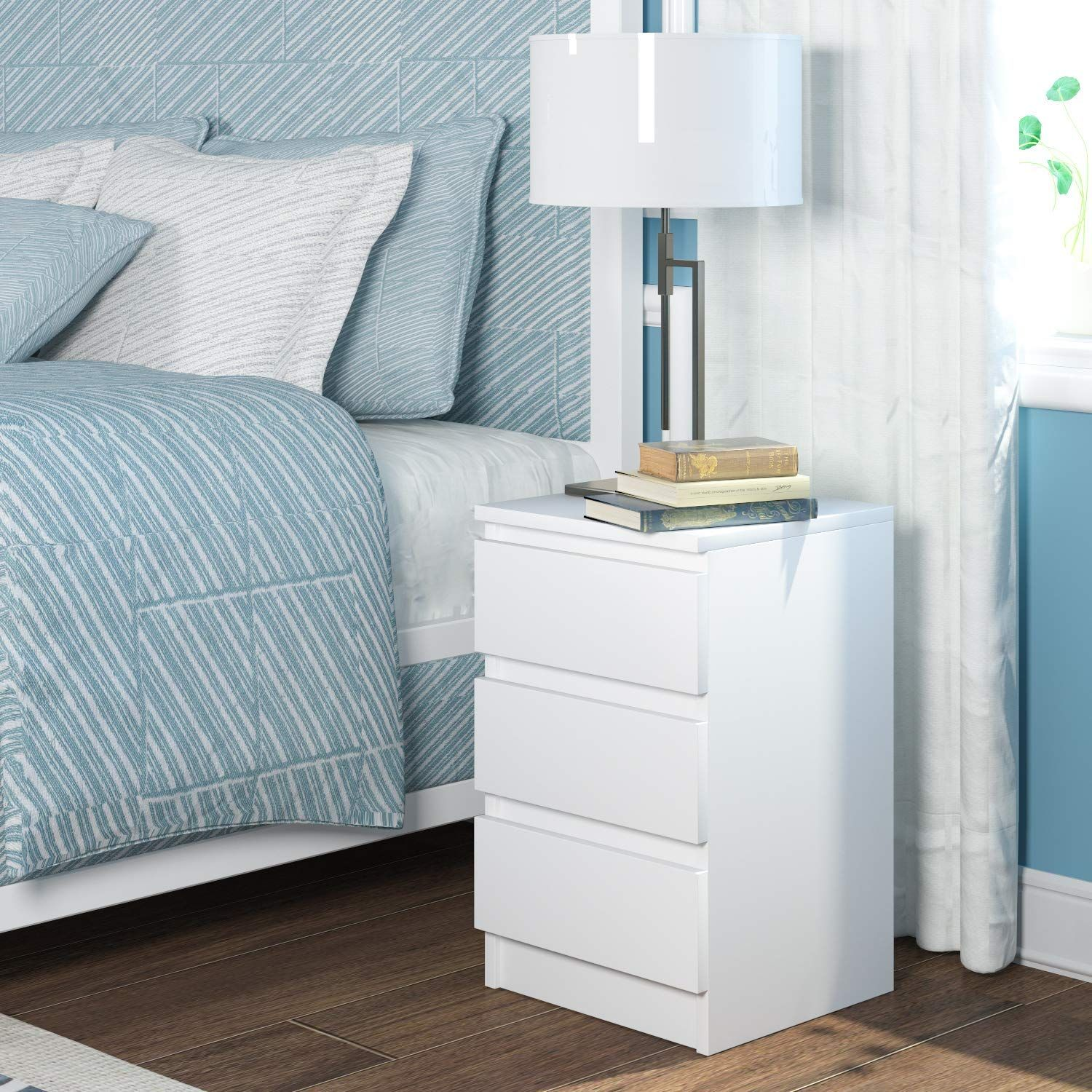 Homfa Chest Drawers Bedside Table Storage Cabinet 3 Drawers Bedroom Furniture White 38x28x49cm White Bedroom Furniture Furniture Bedside Table Storage