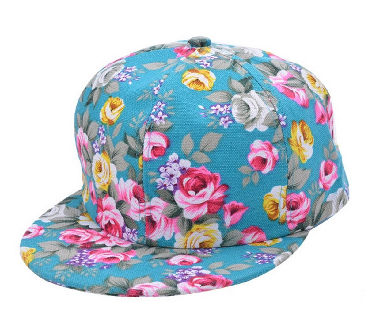b33d58d9b39 New Summer Lady Floral Flower Baseball Cap Snapback Hip-hop Supreme Sun  Flat Hat at Amazon Women s Clothing store