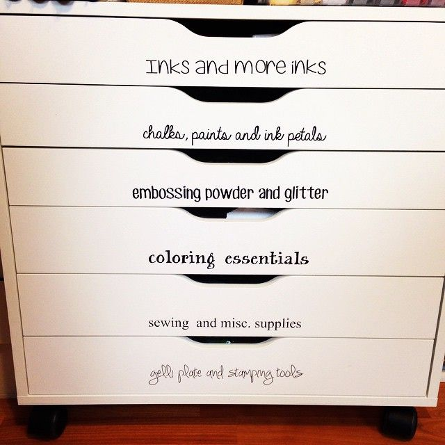 labeled ikea alex drawers for craft organization crafty. Black Bedroom Furniture Sets. Home Design Ideas