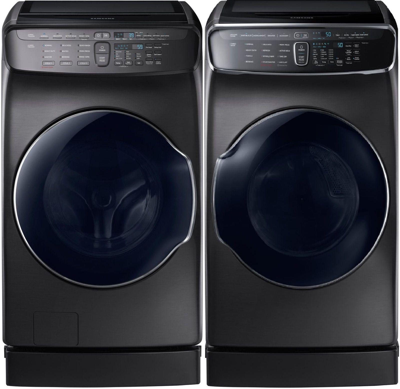 Samsung Black Stainless Flex Washer Electric Dryer Peds Wv60m9900av Dve60m9900v Ebay Buy Washer And Dryer Washer And Dryer Stackable Washer And Dryer