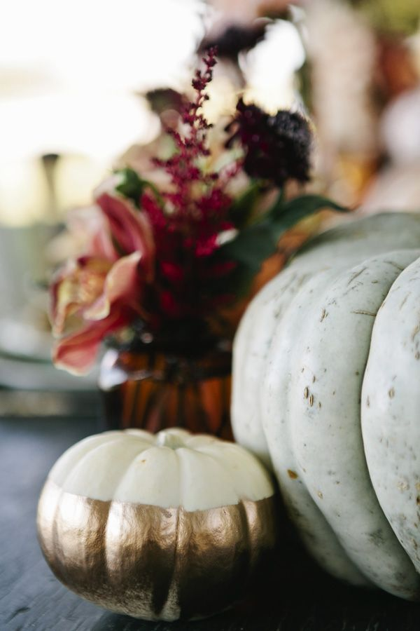 fuchsia flower centerpieces with pumpkins for (Nightmare Before