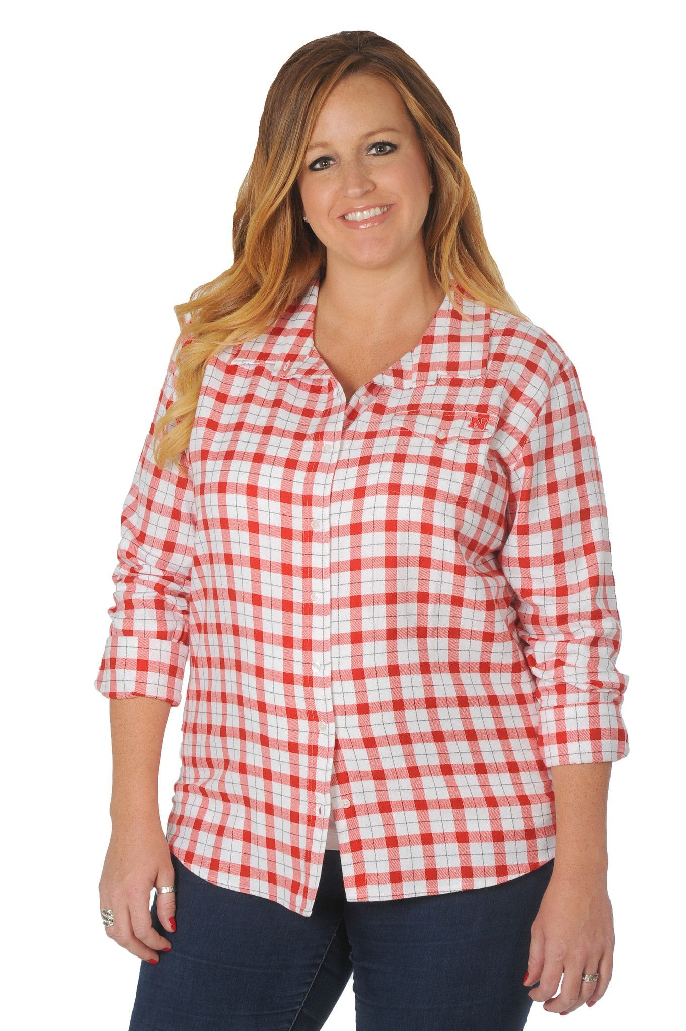 Plus Size Nebraska Cornhuskers Boyfriend Plaid Shirt