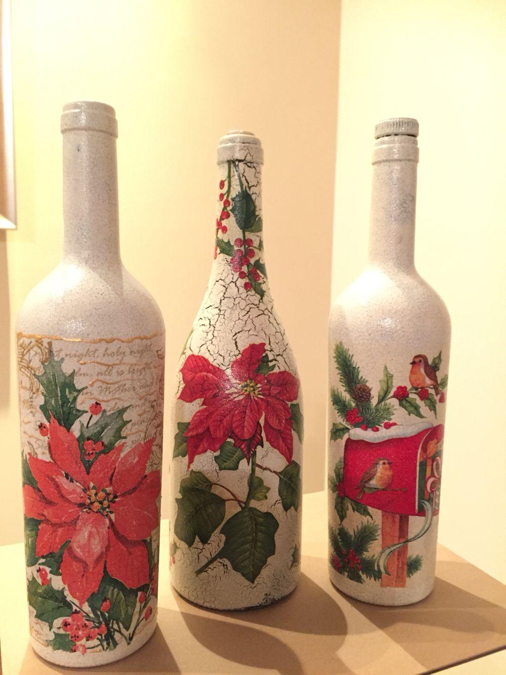 Decoupage tablero botellas recicladas for Botellas de vidrio decoradas para navidad