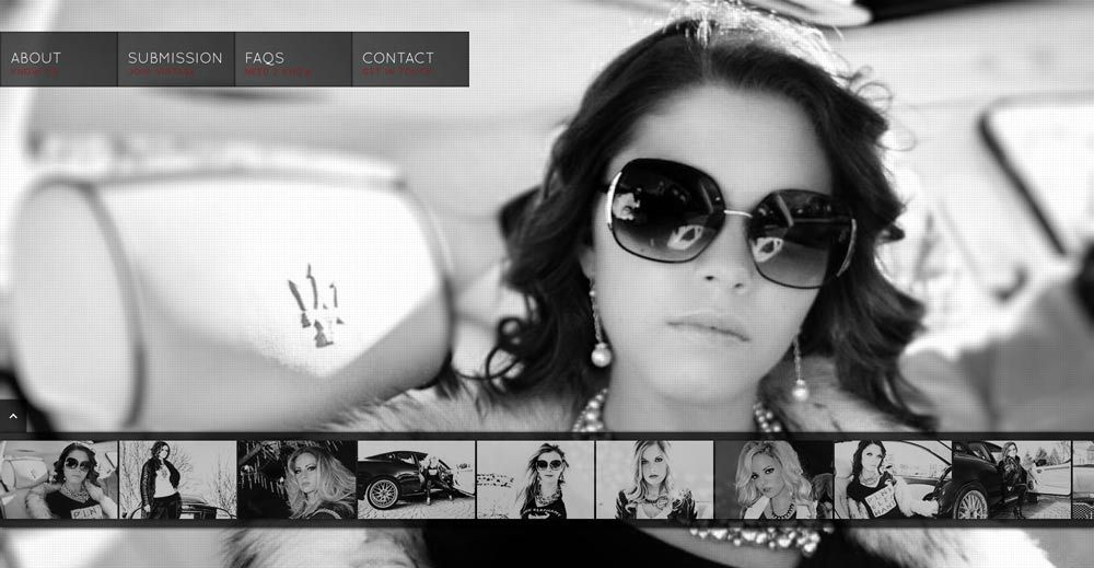 I really like the simplicity, use of photography, and black and white with accent colors and the slideshow across the bottom.