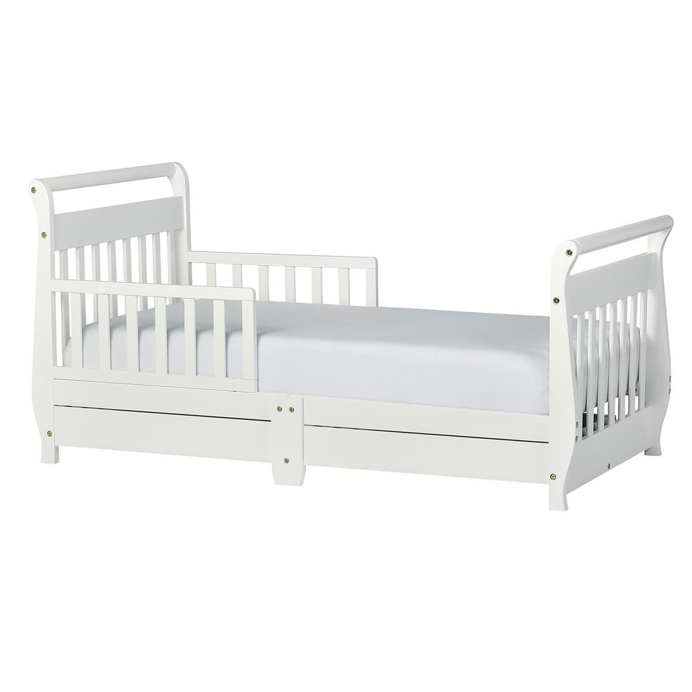Dream On Me White Toddler Adjule Sleigh Bed With Storage Drawer