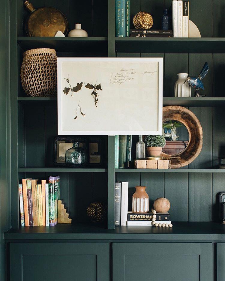 It S No Secret That We Love Our Farrowandball Studio Green Painted Built Ins At Pictureperfectclie Painted Built Ins Bookshelves Built In Painted Bookshelves