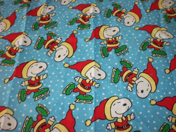 "Snoopy Skating Fabric Snowey Background New 15"" x 21"" Great For Your Sewing, Quilting, Crafting Project"