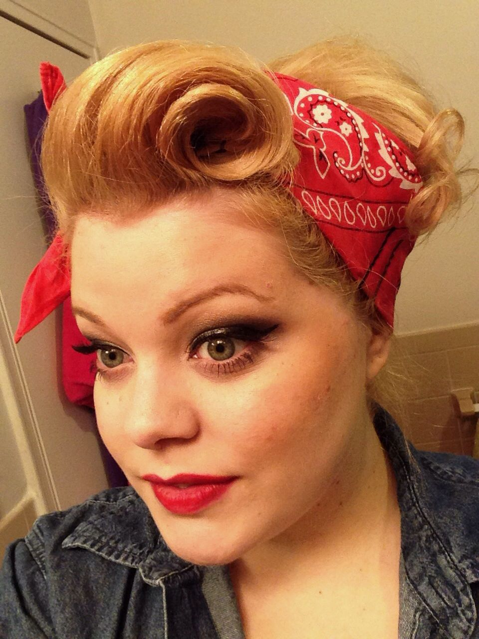my halloween costume, rosie the riveter, victory roll, pinup