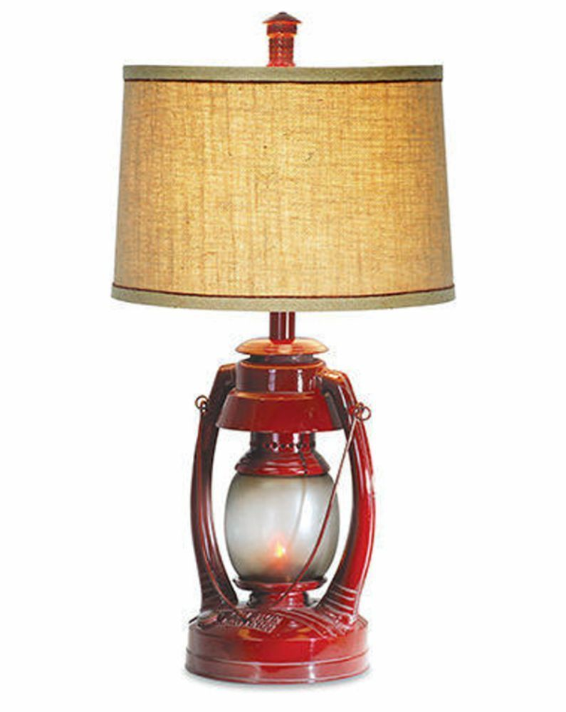 rustic lighting for cabins. vintage red lantern table lamp flicker night light rustic cabin camping new lighting for cabins r