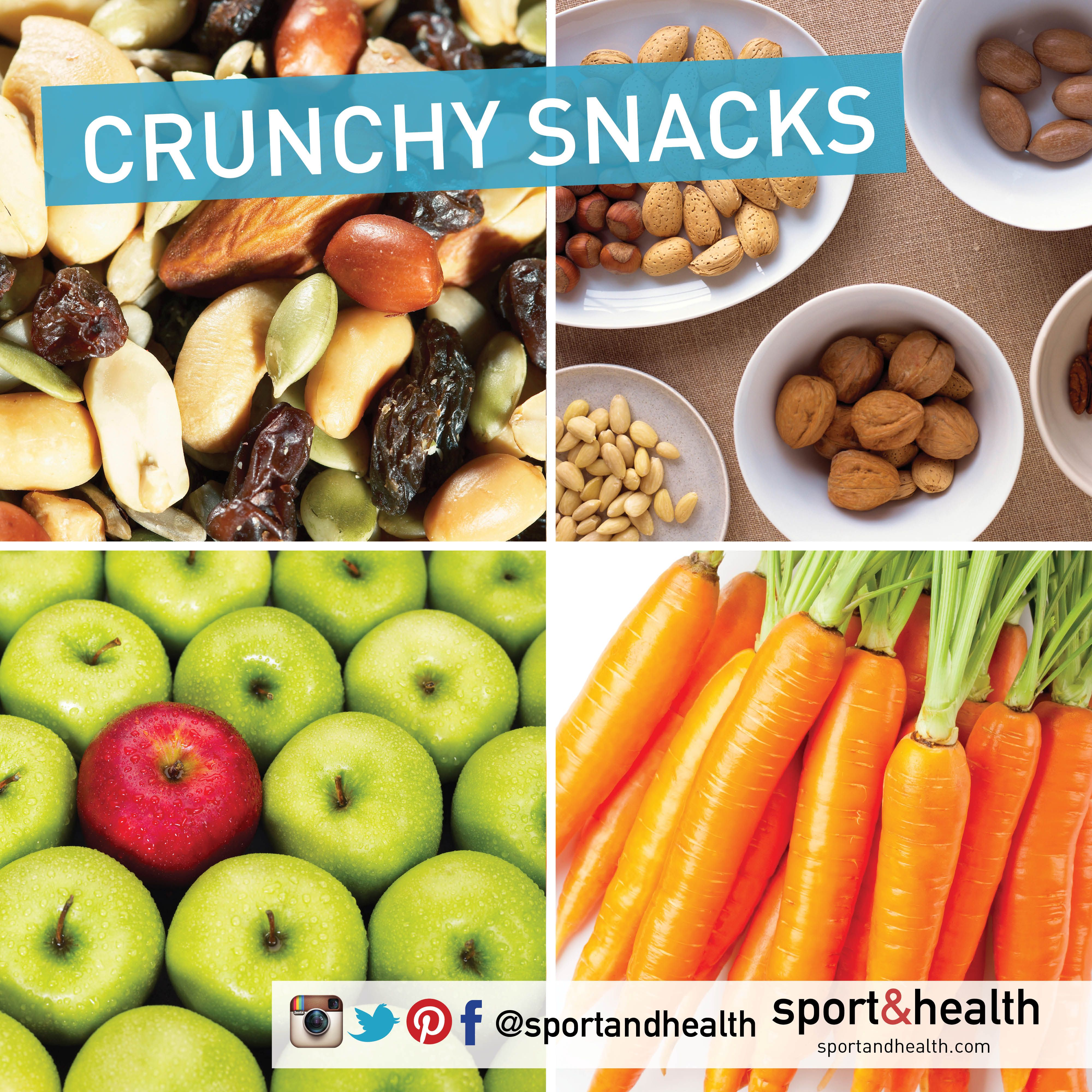 Craving crunch? Try one of these healthy go-to snacks:  • Raw nuts & seeds • Carrots, broccoli, cauliflower • Celery with almond butter • Apples with cashews • Wasabi peas • Make your own trail mix: goji berries, mulberries, raw cacao, pumpkins seeds, walnuts & almonds