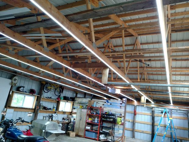 Inexpensive Garage Lights From Led Strips Garage Lighting Ideas Diy Garage Lighting Led Shop Lights