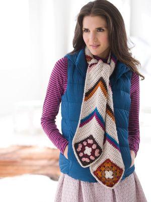 Crochet Modern Granny Scarf free pattern.