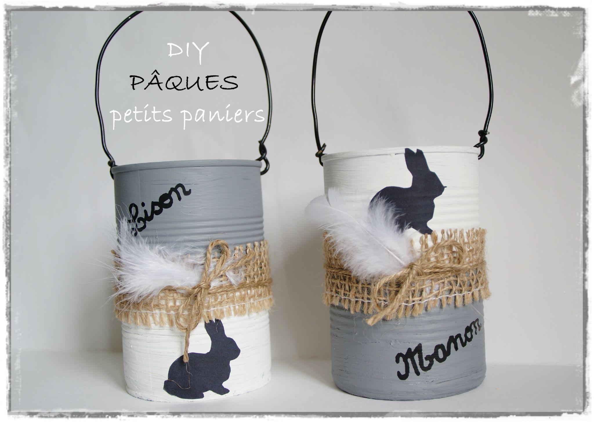 white p ques paniers avec des bo tes de conserve deco pinterest de conserve p ques et. Black Bedroom Furniture Sets. Home Design Ideas