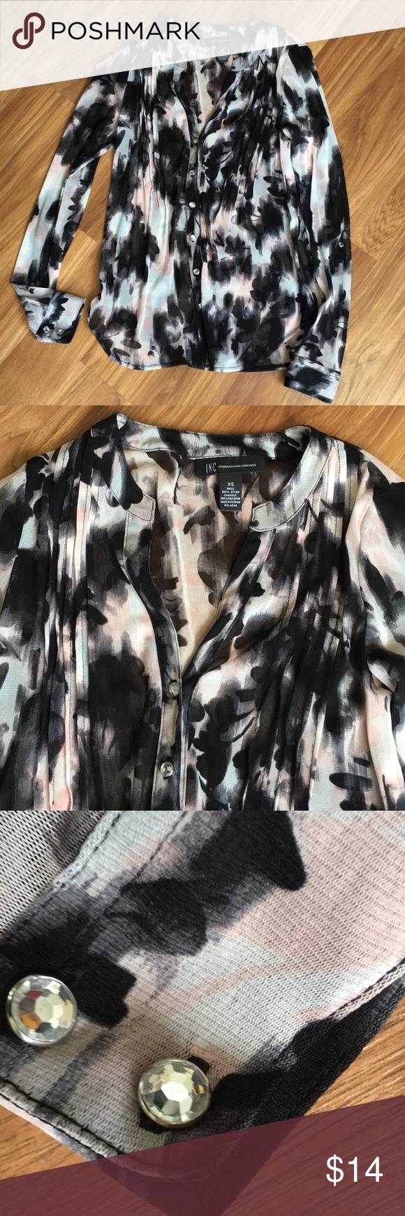 1b86a13de84f9 Semi Sheer INC Long Sleeve Floral Blouse SZ XS Nylon top
