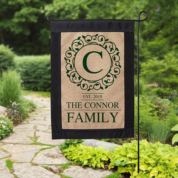 Circle Vine Monogram Personalized Burlap Garden Flag Personalized Garden Flag Burlap Garden Flags Monogram Garden Flag