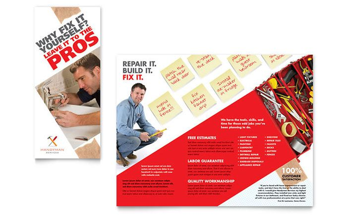 Janitorial  Office Cleaning Tri Fold Brochure Template Design
