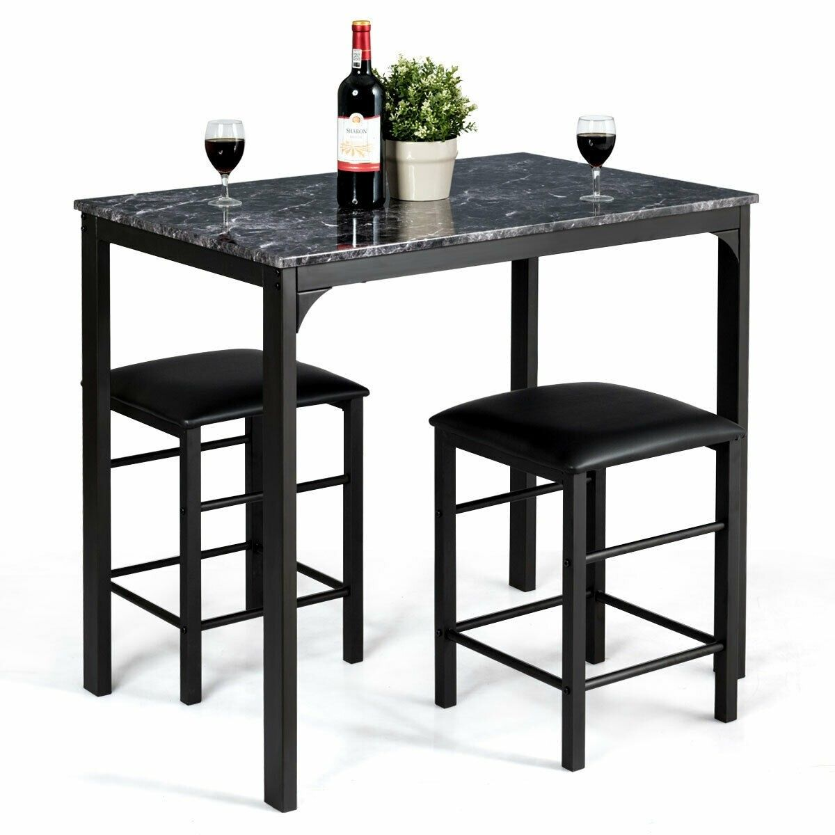 3 Pcs Counter Height Dining Set Faux Marble Table In 2020