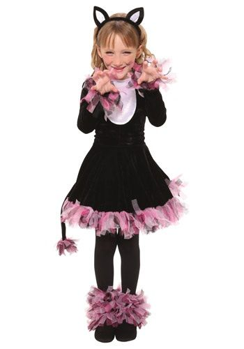 Girls Black Cat Costume Like the tulle at the ankles