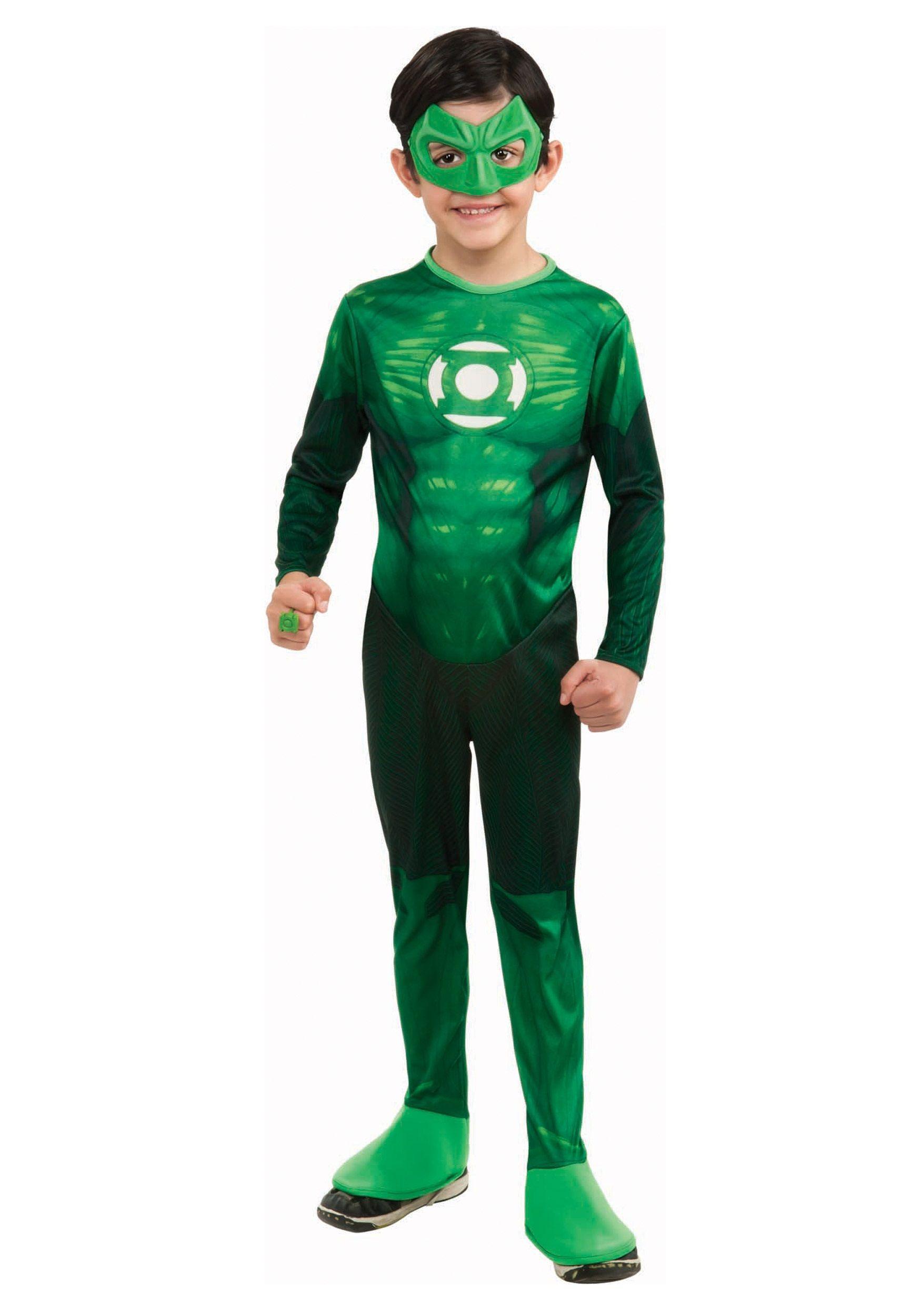 Green Lantern Justice League Superhero Fancy Dress Up Halloween Child Costume