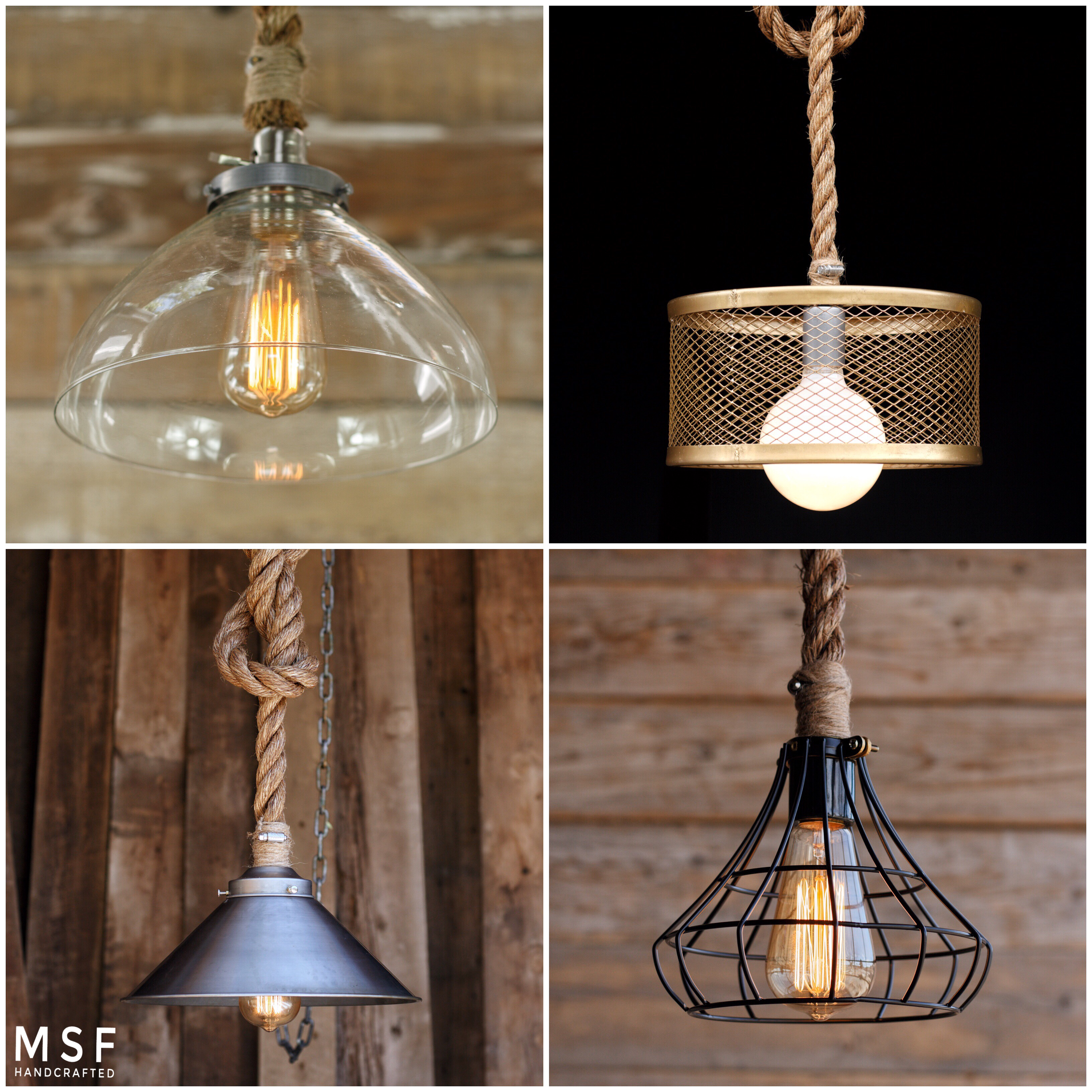 Industrial Pendant Lights - Country Home Light fixtures - Rope ...