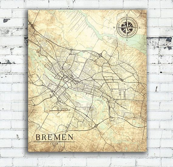 BREMEN Canvas Print Germany Vintage map Bremen City Germany