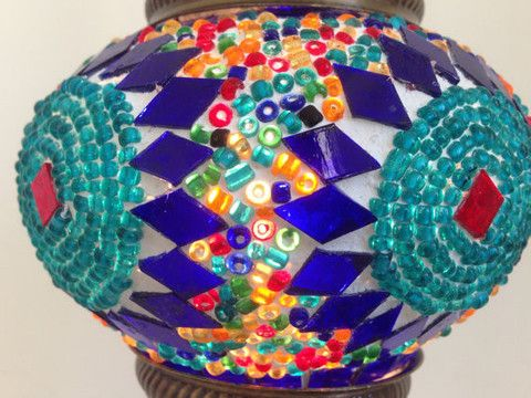 Turquoise and Royal Blue Turkish Mosaic Lamp