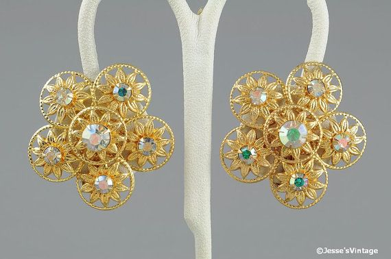 AB Rhinestone Earrings Flower Gold Pink Clip On by JessesVintage, $5.45