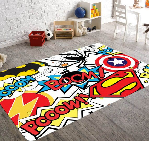 Get One On Etsy For 59 99 Superhero Room Decor Geek Home Decor Playroom Rug