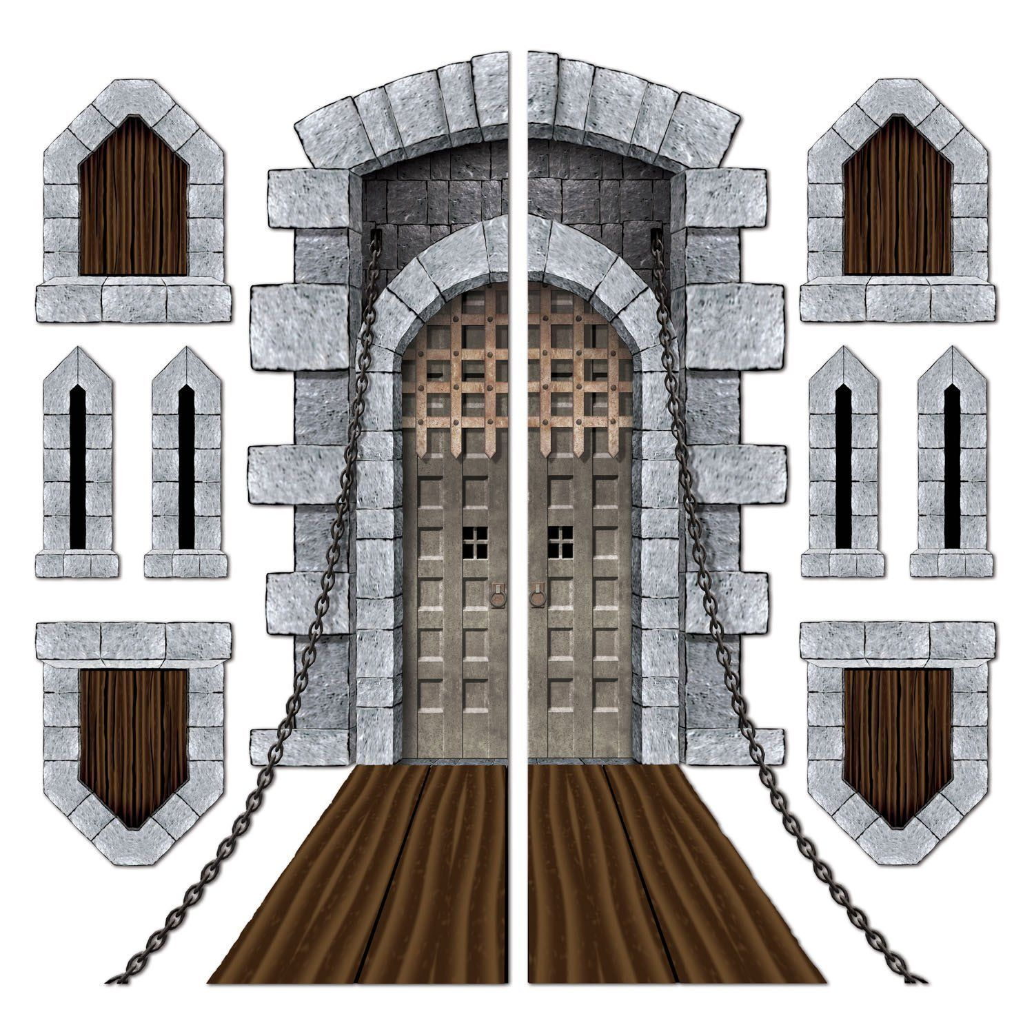 castle door and window props feature a realistic castle drawbridge entrance these are large decorations for the doors and walls