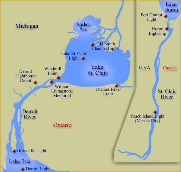 Map of lighthouses at Lake St Clair Detroit StClair Rivers