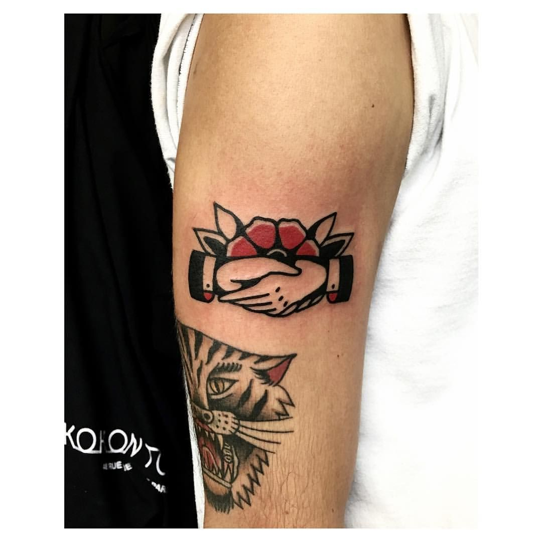 Shaking Hands & Flower | Fashion & Tattoos | Traditional ...