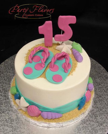 This Sweet 15 Birthday Cake Will Have You Wanting To Kick Off Your Flip Flops And Splash In The Ocean PartyFlavors