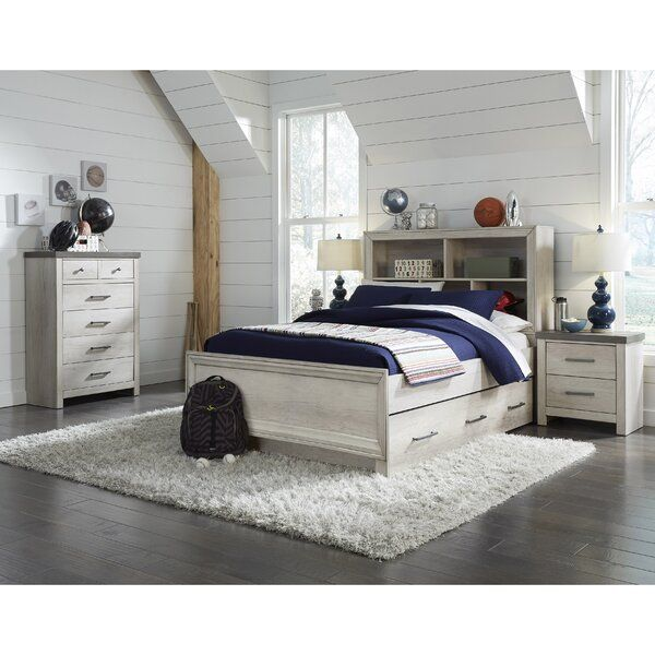 Nestled Under Charming Raised Chevrons On The Headboard This Kids Bed Shines With An Appealing Whitewashed Finish A In 2020 Bedroom Set Twin Bedroom Sets Storage Bed