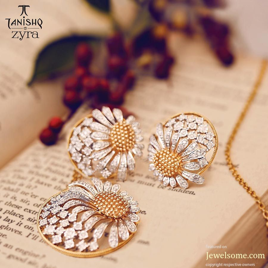 Tanishq zyra sunflower pendant jewelry diamond materialistic