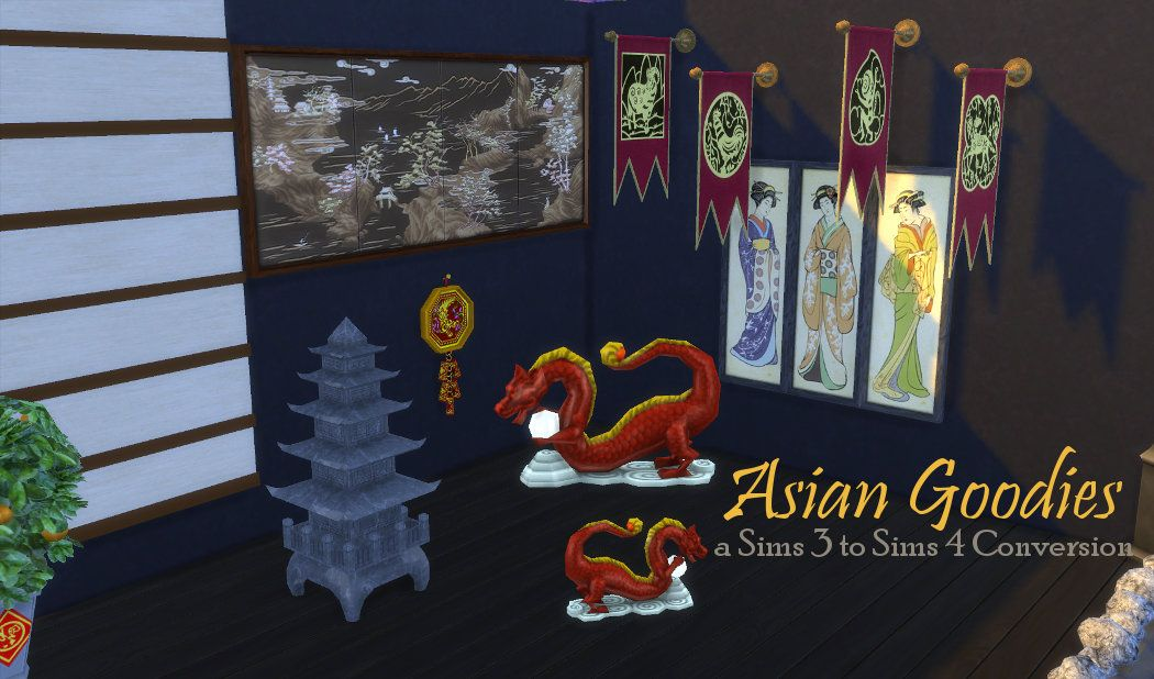 Leander Belgraves - Asian Deco Goodies converted from Sims 3 to Sims 4...