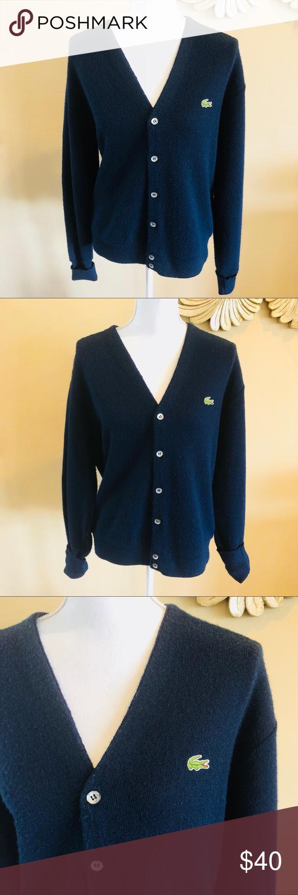 954f2c755   IZOD LACOSTE   Vintage Blue Cardigan Sweater