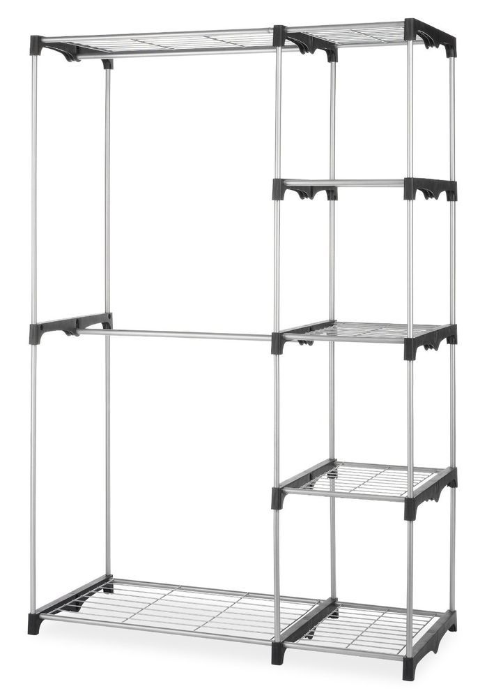 Double Rod Closet Does Not Need Any Tools To Assemble Silver Coated Steel Frame Makes The Sturdy And It Comes With Durable Resin Connectors