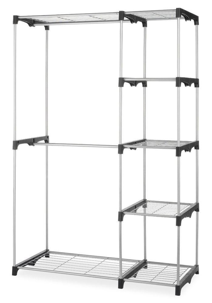 New Double Rod Closet Organizer Hanging Rack Clothes Storage Clothing Racks  Bar